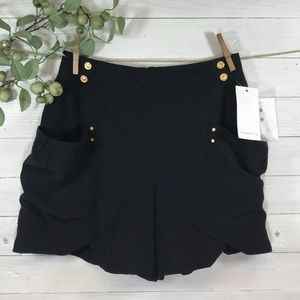 Leifsdottir Black Silk Shorts with Pockets NWT
